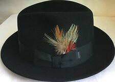 STETSON SAXON 57cm USA JOHN B. STETSON BLACK FUR FELT HAT 7 1/8 M USA MADE