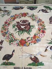 Vintage Wild Life Of Australia Pure 100% Linen Table Cloth Design By Heil Koala