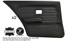 BLACK STITCH 2X REAR FULL DOOR CARD LEATHER COVERS FITS BMW 3 SERIES E30 SEDAN