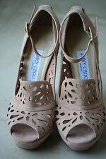 JIMMY CHOO KALAM SUEDE CUT OUT LEATHER HEELS 38.5 UK 5.5