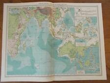 Antique c1904 Colour Map of INDIAN OCEAN Depths & Cables HARMSWORTH ATLAS