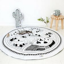 Soft Cotton Baby Kids Round Activity Play Rug Crawling Blanket Carpet Floor Mats