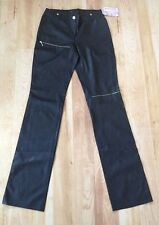 NEW PLEIN SUD Black Solid Leather-Like Pants Made in France Womens Size 6 EU 38