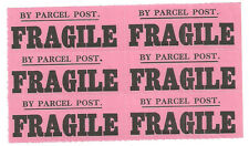 BY PARCEL POST FRAGILE PINK UNUSED LABELS BLOCK OF SIX UNMOUNTED MINT