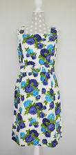 Phase Eight 8 Vintage Rose Print Floral Dress W/ Belt Blue White Wedding Size 12