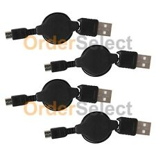 4 USB Black Retractable Micro Battery Charger Data Cable For Android Cell Phone