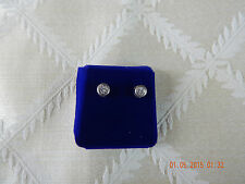 """Sterling silver .925 round stud earrings with CZ, 1/4"""" wide"""
