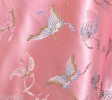 "BR 79 pink butterfly CHINESE BROCADE TAPESTRY FABRIC PER YARD 36"" W"