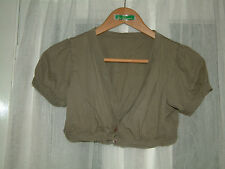 Girls olive green cap sleeve v neck cropped bolero cardigan with 2 buttons 13-14