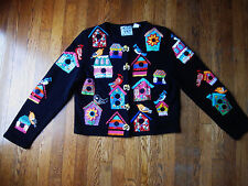 MICHAEL SIMON RARE L LARGE BIRDHOUSE BIRD WATCHING SWEATER BEADED