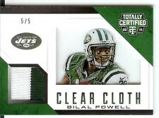 2014 Totally Certified Clear Cloth Patch #BP Bilal Powell #5/5 New York Jets