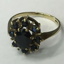 Vintage Solid 9ct Gold Hallmarked Sapphire Cluster Dress Ring Size K1/2