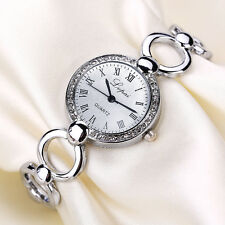 Women's Fashion Geneva Crystal Silver Stainless Steel Analog Quartz Wrist Watch