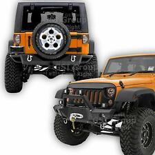 "Front Bumper+Rear Bumper+Winch Plate+2"" Hitch+D-rings For 07-17 Jeep JK Wrangler"