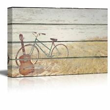 """Canvas Wall Art - Bike and Guitar on Vintage Wood Textured Background- 16"""" x 24"""""""