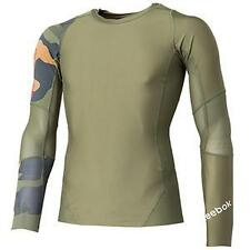 Men's Reebok Crossfit Midcom Long Sleeve Compression Shirt Green Camo Z82649 (M)
