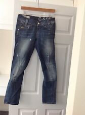 BRAND NEW LADIES G STAR' BLUE DISTRESSED/ FRAYED JEANS.SIZE 10/ LENGTH 30 INCHES
