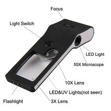 UN3F 6 in 1 LED Pocket Magnifier 3X 10X magnifier 55X Microscope and UV Light