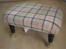 Superb new Beige Tartan footstool with Dark wood luxury castor wheeled legs