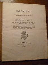 PROGRAMMA CERIMONIALE SUA MAESTA'....REGNO BORBONICO NAPOLI Stamperia Reale 1825