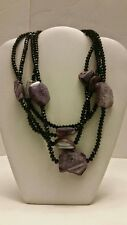 Gorgeous designer onyx and agate multi layer purple stone necklace