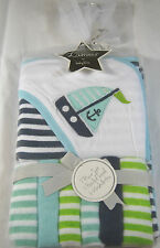 L'AMOUR HOODED TOWEL SET W/ 6 ASSTD. WASHCLOTHS FOR BABY BOYS  100% POLYESTER