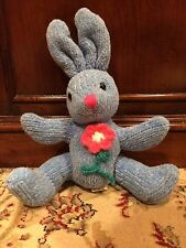 "Corduroy 7"" Blue Bunny Hare Rabbit Plush EASTER Beanbag Bum/Feet Knit Flower"