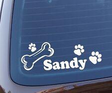 Hundepfoten Aufkleber mit Namen vom Hund - Autoaufkleber Pfote Knochen Dog Name