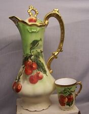 LEGRAND  LIMOGES    HAND PAINTED  CHOCOLATE POT   signed  FIBLET