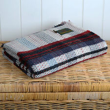 100% WOOL Recycled *ECO FRIENDLY THROW* Blanket Picnic Rug CHECK STRIPE NAVY/RED