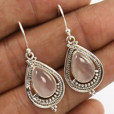 925 Sterling Silver Handcrafted Earrings Natural ROSE QUARTZ Cabochon Gemstones