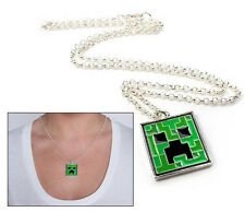 Minecraft PC XBOX Creeper Pendant Necklace Silver Chain Cosplay Costume OFFICIAL