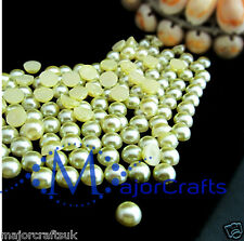 1800pcs Light Yellow 1.5mm Flat Back Half Round Resin Pearls Nail Art Gems C32