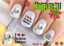 """RTG Set#169 DOG BREED """"Old English Sheepdog 2"""" WaterSlide Decals Nail Transfers"""