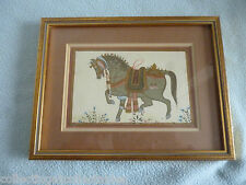 Vintage Persian Mughal Painting On Silk Depicts a Noblemans Horse
