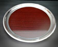 "Excellent 1960s Crescent Silverplate and Formica Serving Tray - 14 1/4"" Diameter"