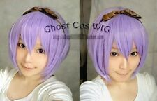 Light purple short anime cosplay wig party wig