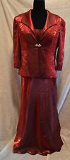 Mother of the Bride Alex Evening Dress w/ Jacket  Rich Burgundy Red   Size 14