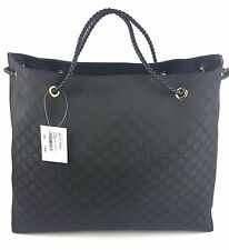 "Authentic New Gucci ""Gifford"" GG Large Black Nylon Canvas Tote #380118, NWT"