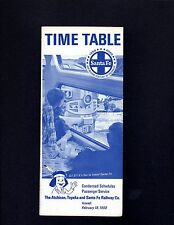 Santa Fe AT&SF Condensed Timetable February 18, 1968