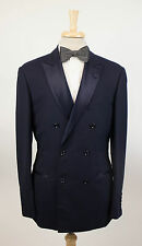 New BRUNELLO CUCINELLI Blue Wool Double Breasted Tuxedo Suit Size 52/42 R $5625