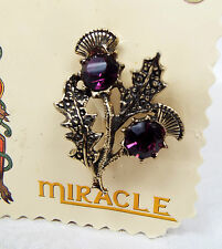 Vintage Miracle Scottish Celtic Purple Amethyst Glass Thistle Brooch New on Card