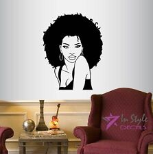 Vinyl Decal Beautiful Sexy Girl Woman Lady with Afro Hair Face Beauty Salon 826