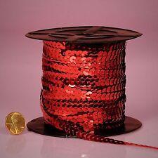 PEPPERLONELY Brand 80 Yard/Roll Metallic Flat Sequin Trim Red