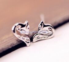 925 Sterling Silver - Carved Fox Korea Animal Club Mini Stud Earrings Jewelry