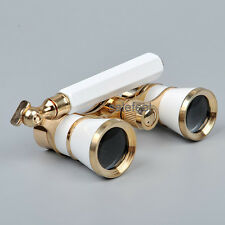 UK White 3x25S Opera/Theater Glass Binocular Coated Lens/Necklace w/handle New