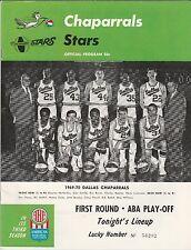1969/70 DALLAS CHAPARRALS LA STARS ABA BASKETBALL PROGRAM DALLAS TEAM COVER NM+