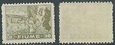 1919 FIUME ALLEGORI E VEDUTE 10 COR CARTA C MNH ** - F13