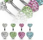 Crystal Love Heart Rhinestone Body Piercing Belly Button Navel Ring Bar Barbell