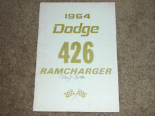 1964 Dodge 426 RAMCHARGER Factory Original Owners Manual First Edition Print